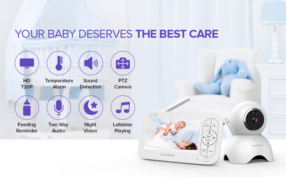"""baby monitor - GOODBABY Real 720P 5"""" HD Display Video Baby Monitor With Camera And Audio, Remote Pan&Tilt&Zoom, Two-Way Talk,Temperature Monitor, Night Vision, Lullaby Player, 960ft Range"""