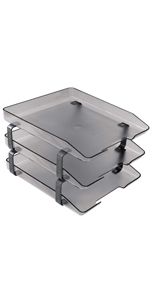 acrimet traditional letter tray 3 tier front load smoke color