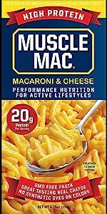 Muscle Mac Macaroni amp; Cheese Mac'n cheese pasta  box carton high protein vegetable proteins snack