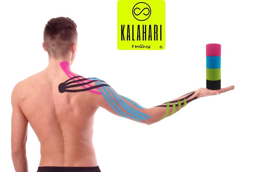 KALAHARI 4 rollos Cintas Kinesiologicas Profesional más e-Book manual aplicaciones en Español - Synthetic Kinesiology Tape para una mejor Adherencia y ...