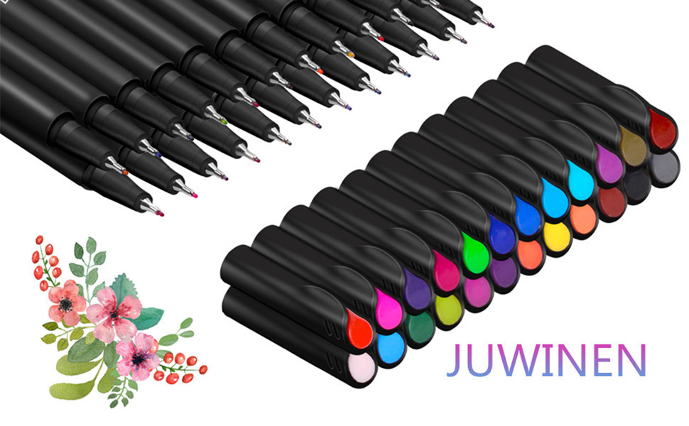 JUWINEN 48 Bright Colors Fine liner Color Pens Journal Planner Pens Fine Point Markers Tip Drawing Pens for Journaling Writing Note Taking Calendar Coloring Art Office School Teacher Classroom Supplies