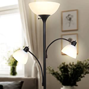 Sky Dome Double – Dimmable Tall Pole LED Floor Lamp with Two Reading Arms
