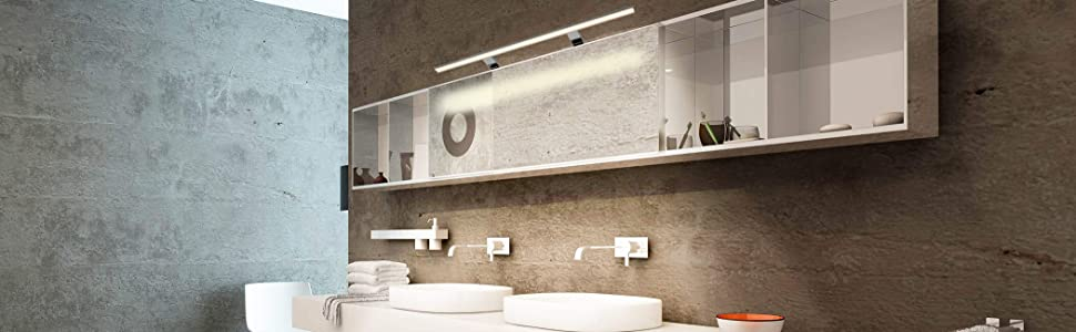 LED spiegellicht 80cm badkamer IP44 opbouw klemlicht neutraal wit 4000K 800x108x40mm 15W 1000lm