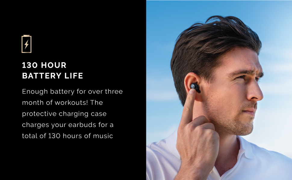 130 hour long battery lfie lasting all day power rechargeable recharge music beats bass heavy music