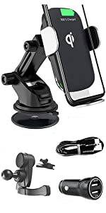 3 in 1 Full Kit 15W Wireless Fast Charger Car Phone Holder