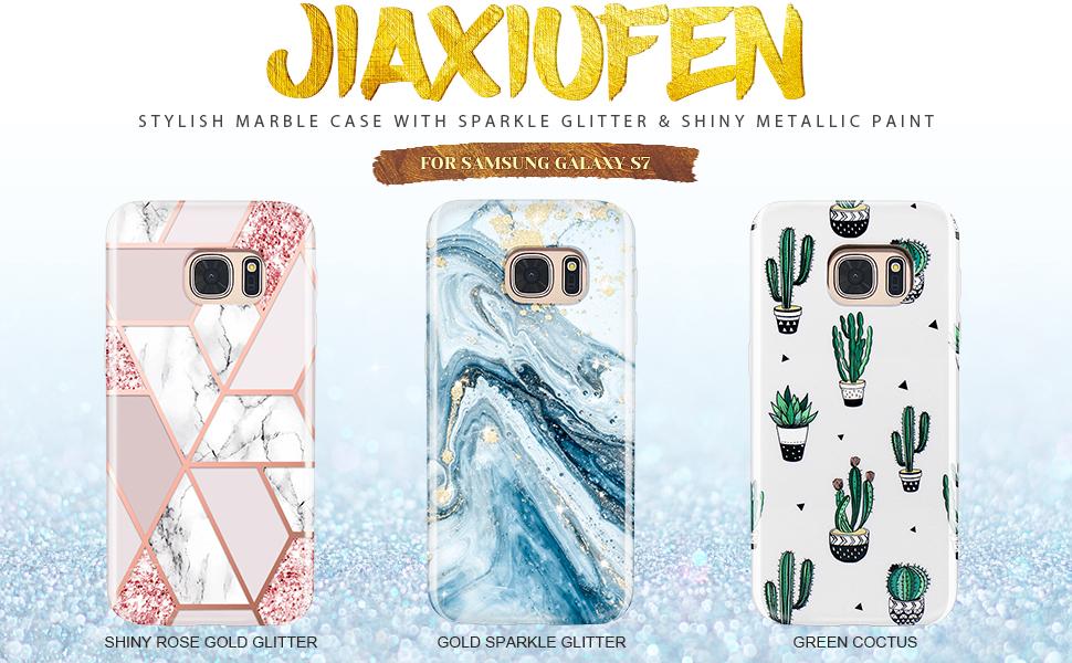 JIAXIUFEN Galaxy S7 Case Sparkle Glitter Shiny Rose Gold Metallic Marble Design Flexible Bumper TPU Soft Rubber Silicone Cover Phone Case for Samsung ...