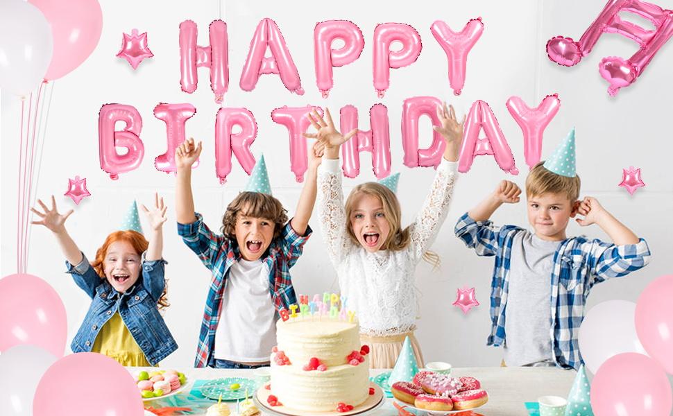 Dr.kurand 風船 誕生日 飾り付け 漫画のピンクの豚 パーティー風船 セット(51点セット)パーティ HAPPY BIRTHDAY アルファベット 美しいネクタイと空気入れ付き 子供用ラテック