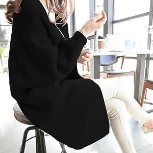 Emptio Women's Ribbed Dolman Sleeve Knit Cardigan