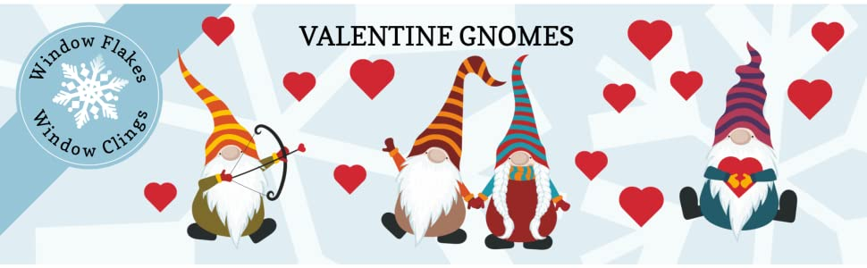 Gnomes Valentines Window Cling Decal Sticker Hearts Cupid Love Window Flakes Cute Elf