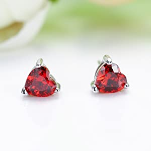 perfect gift for wife daughter sister mother best friend CZ red heart earrings