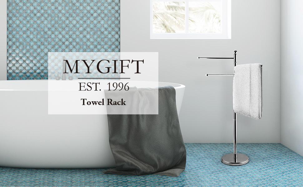Freestanding, Metal, Bathroom, Towel Rack,Towel Stand, 3 Swivel Arms