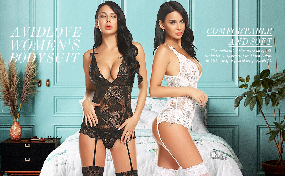 Avidlove Women Lingerie Set with Garter Lace Teddy Bodysuit Babydoll Chemise