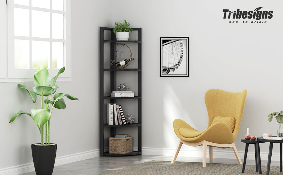 Tribesigns 5 Tier Corner Shelf, Corner Storage Rack Plant Stand Small  Bookshelf for Living Room, Home Office, Kitchen, Small Space (Black)