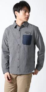 (リアルコンテンツ)REAL CONTENTS デニム ヒッコリー ストライプ シャツ メンズ 長袖 ゆったり 大きいサイズ ワークシャツ 22-h738-rc