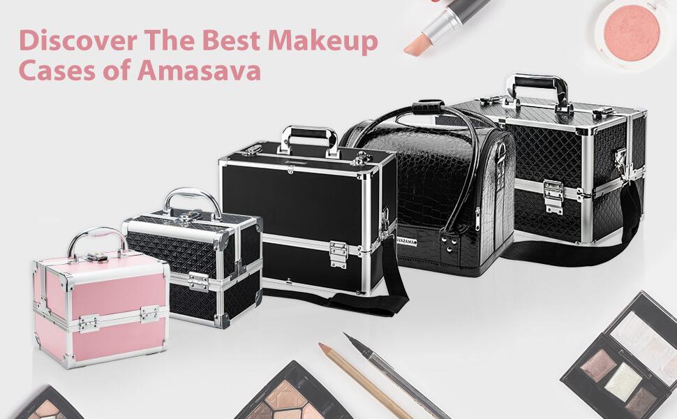 AMASAVA Maletín Maquillaje, Estuche de Maquillaje, Estuche de cosméticos, 29 x 24 x 24 cm, PVC, 4 bandejas, Negro Puro: Amazon.es: Equipaje