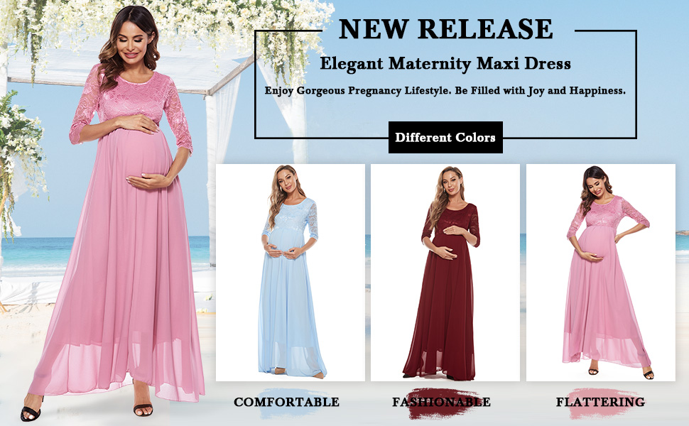 Maternity dresses lace for baby shower casual maxi photography dress for photoshoot special occasion