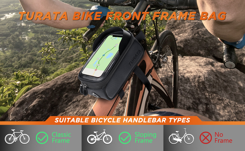 Amazon Com Turata Bike Bags Bicycle Front Frame Bag Waterproof Handlebar Cycling Top Tube Pannier Touch Screen Sun Visor Large Capacity Mobile Phone Holder Fits Phones Below 6 5 Inches Black Sports