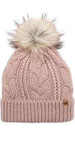 Women's Soft Faux Fur Pom Pom Slouchy Beanie Hat with Sherpa Lined