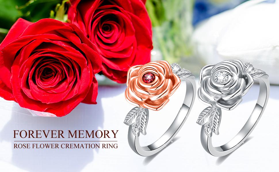 Rose Flower Urn Rings