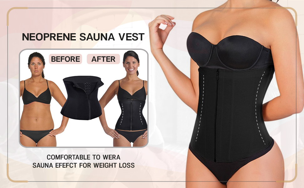 before after slim sauna shaper shapewear black sweat fat calorie burn hourglass figure compression