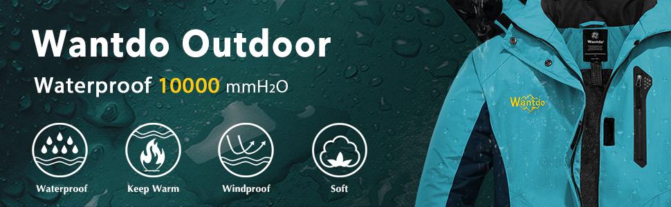Wantdo Women's Waterproof Parka Windproof Ski Jacket Hooded Winter Raincoat