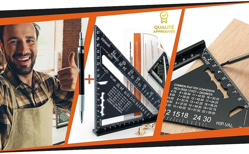+CRAYON +NOTICE FR Guide Rail//Outillage Charpentier//Regle /Équerre Raporteur Trusquin Multi Angle 45 90 Degres Tra/çage Guidage Outil Menuiserie Bois VERSION FR Equerre Menuisier Metal Aluminium