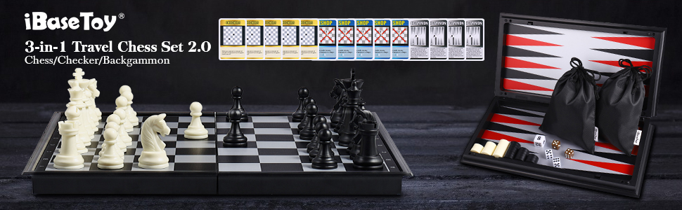 3 in 1 Magnetic Travel Chess Set 2.0 Upgraded Version for Kids and Adults