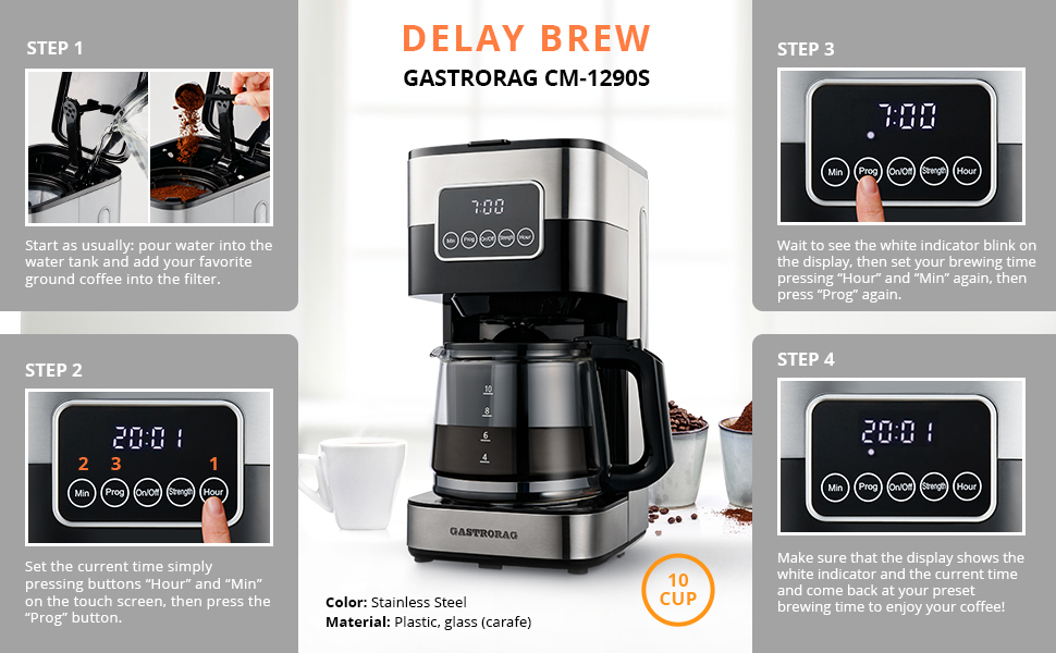 color stainless steel delay brew function instruction 24 hours programmable steps