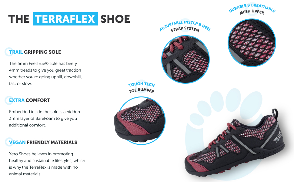 trail gripping sole vegan friendly materials extra comfort
