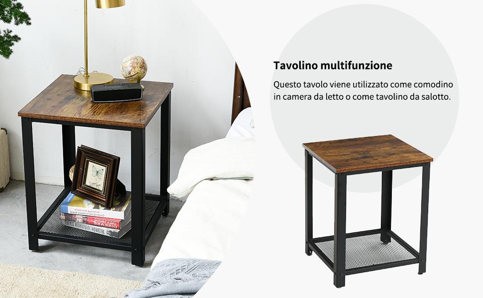 IBUYKE Tavolino retr/ò per Soggiorno Camera da Letto Divano Letto con ripiano griglia con Struttura in Metallo Facile da Montare TMJ008H tavolino in Design Industriale Comodino