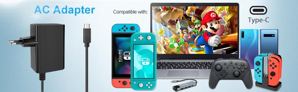 Cargador para Nintendo Switch/Switch Lite, innoAura Adaptador de CA Type-C de Carga Rápida con Suministro de 15V 2.6A y Cable de 6 Pies Compatible en Modo de TV y Control Dock &