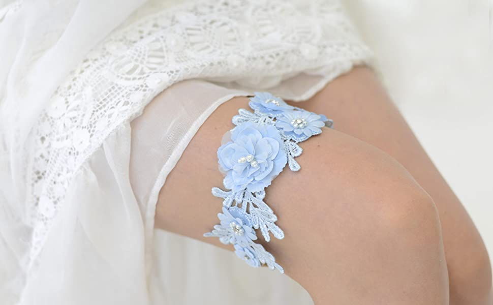 sky blue garter for wedding