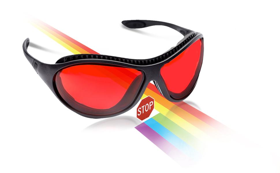 sleep savior ultra blue green light blocking glasses red lens