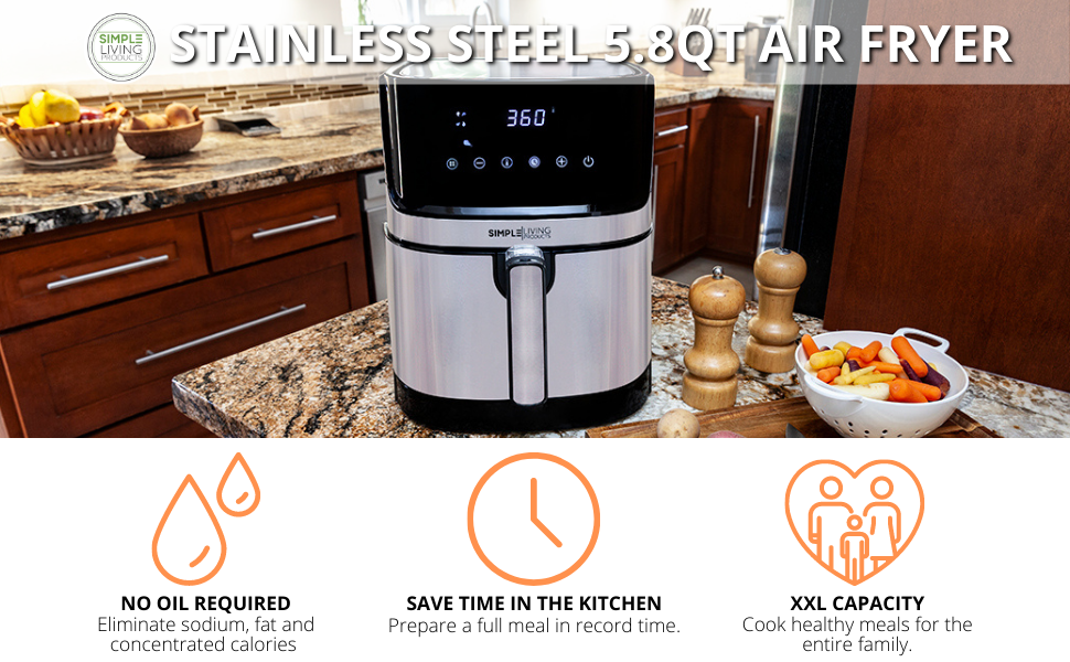 Simple Living Products Stainless Steel Hot Digital Air Fryer