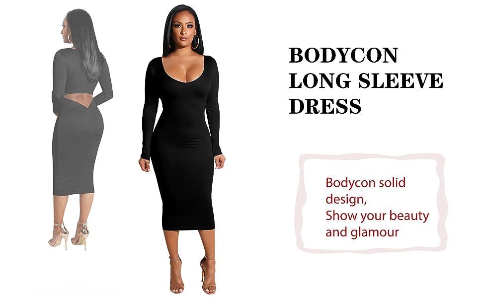 black wonen bodycon dress