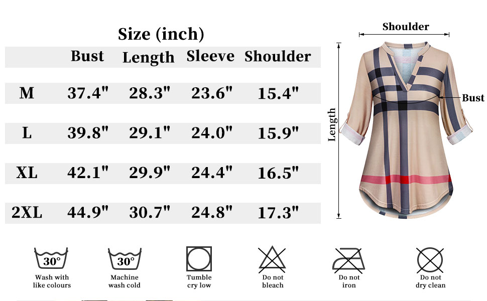 Size chart of casual daily wear of tunic tops for women