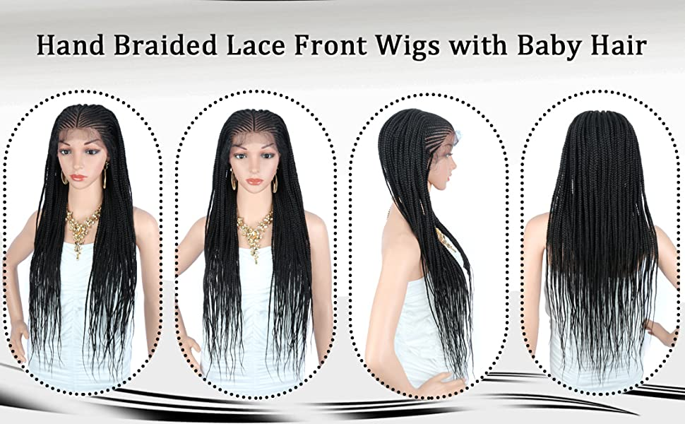 "30"" Fully Handmade 13X6 Wide Lace Area Hand Braided Synthetic Lace Front Wigs for Women"