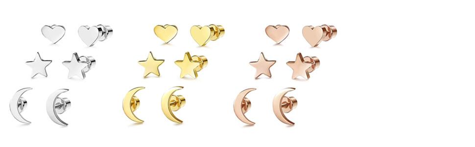 6 Pares Acero Inoxidable Pendientes de Estrella Luna y Corazón de las Mujeres Aretes Pendientes