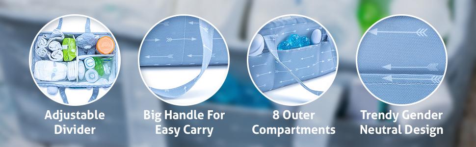 cotton large newborn registry removable grey essentials boys girls canvas holder pocket travel