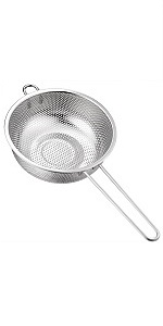 BasicForm Micro-Perforated Colander with Long Handle and Base Stainless Steel 19.5cm