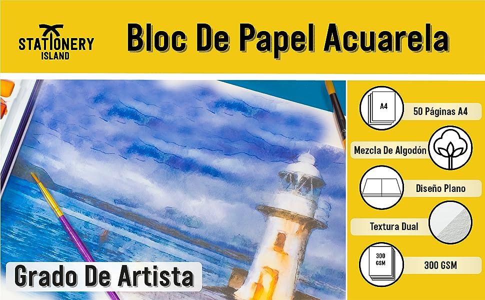 Papelería Isla Acuarela Papel - Artista de grado A4. Cuaderno de ...
