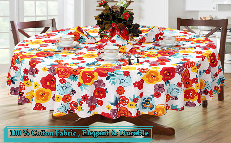 Amazon Com Ruvanti Table Cloth 70 Round 4 6 Seats Premium Quality 100 Cotton Tablecloth Washable Reusable Cloths Multi Color Flower Design For Buffet Parties Holiday Dinner Wedding More Kitchen Dining