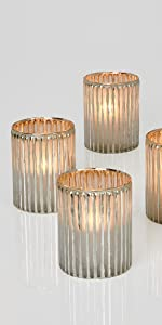 """4"""" Silver Corrugated Glass Votive Holder, Set of 24 Candle Lighting Spa Table Wedding Party Event"""