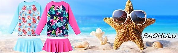 girls swimsuit two piece long sleeve spf