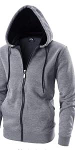 LAIWANG Men's Full zip Hoodie -Long Sleeve - Dri Power Hooded Sweatshirt Fleece With Kanga Pocket