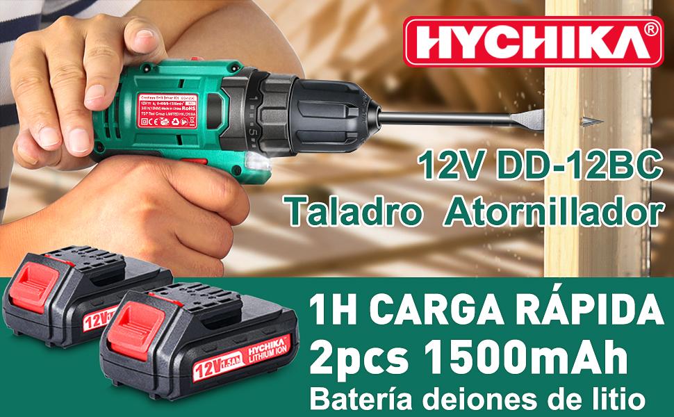 atornillador eléctrico 12v HYCHIKA destornillador eléctrico taladro atornillador batería 30Nm