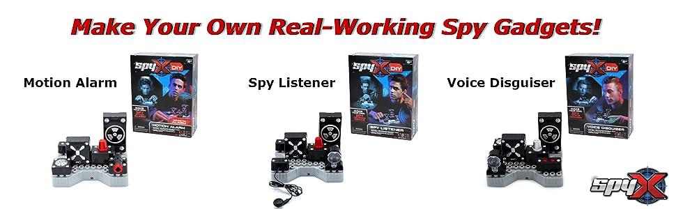spy diy toy,spy kid,do it yourself,motion alarm,spy listener,voice disguiser,spy gadget,science toy