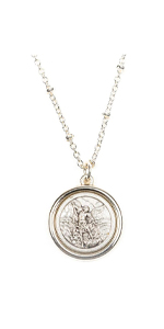 Faith Necklace with St. Christopher and Archangel Michael double sided medallio