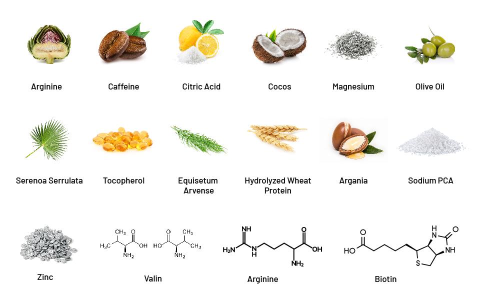 biotin, arginine, cocos, olive oil, argania, zinc, valin, biotin