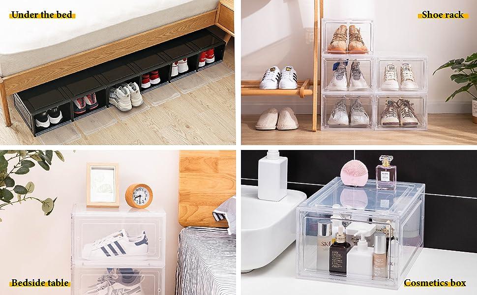 shoe organizer box stackable,Dorp front shoe box,stackable Plastic Shoe box,Clear shoe box,shoe case